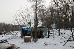 Winter camp Khimki forest defenders. Khimki, Russia - February 1, 2012. Winter camp Khimki forest defenders Royalty Free Stock Photography