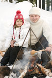 Winter campfire Stock Image