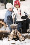 Winter campfire Stock Photos