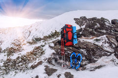 Winter camping equipment Stock Images