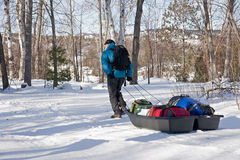 Winter Camping - Killarney Provincial Park, ON Stock Photo