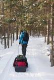 Winter Camping - Killarney Provincial Park, ON. An active man pulls a toboggan along a snowy track to a camping yurt in Killarney Provincial Park, Ontario Stock Image