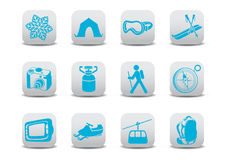 Winter camping/ski icons Stock Photography