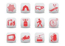 Winter camping/ski icons Stock Photos