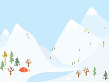 Winter camping wooden with tent. Vector Stock Photos
