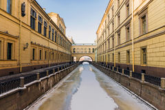 Winter Canal bridges at the State Hermitage Museum in St. Peters Royalty Free Stock Photo