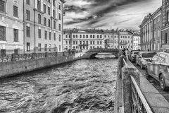 Winter Canal near Hermitage museum, St. Petersburg, Russia Stock Images