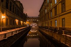 Winter canal in Saint Petersburg Russia by night