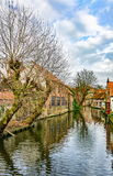 Winter canals of Brugge (Bruges), view from Mariastraat Royalty Free Stock Photos