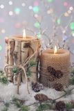 Winter candles Royalty Free Stock Photo