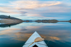 Winter canoe paddling in Colorado Stock Photography