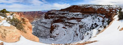 Winter canyon in Arizona. Covered with clean white snow Stock Photos