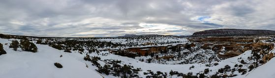 Winter canyon in Arizona. Covered with clean white snow Stock Images