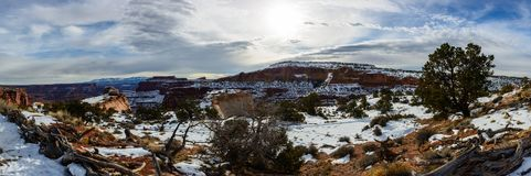 Winter canyon in Arizona. With snow and trees on the foreground Stock Photo