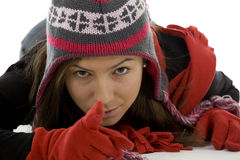 Winter cap and mittens pointing Stock Images