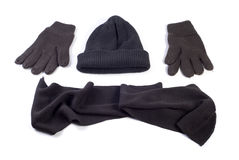 Winter cap, scarf and gloves Royalty Free Stock Images