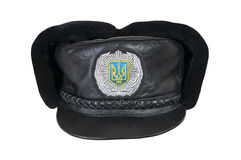 Winter cap of the Ukrainian police officer. Royalty Free Stock Image