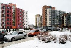 Winter in capital of Lithuania Vilnius city Bajoru hills district Royalty Free Stock Image