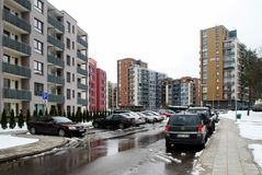 Winter in capital of Lithuania Vilnius city Bajoru hills district Royalty Free Stock Photo