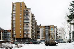 Winter in capital of Lithuania Vilnius city Bajoru hills district Royalty Free Stock Images