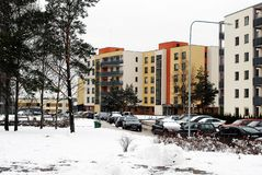 Winter in capital of Lithuania Vilnius city Bajoru hills district Royalty Free Stock Photography