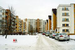 Winter in capital of Lithuania Vilnius city Pasilaiciai district Royalty Free Stock Photos