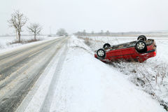 Winter Car Accident Stock Photography