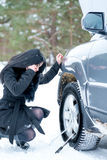 Winter car breakdown - young beautiful woman call for help, road Stock Photos