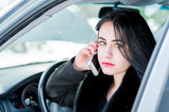 Winter car breakdown - young beautiful woman call for help, road Stock Photography