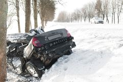 Winter car crash accident Stock Photography