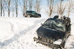 Winter car crash accident Stock Photos