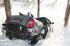 Winter car crash accident Stock Image