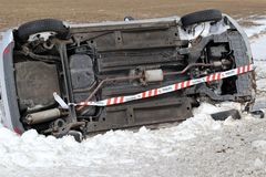 Winter car crash accident. Stock Photo