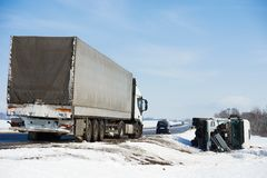 Winter car crash Royalty Free Stock Photography