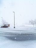 Winter Car Park. An empty parking lot during the Colorado winter royalty free stock photo