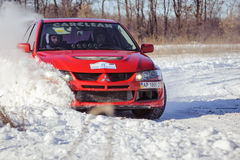 Winter car rally cars zavriryuha in dnipro city ukraine Stock Photography