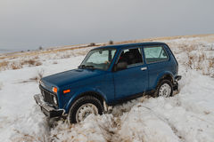 Winter car in snow. In the steppe Royalty Free Stock Photo