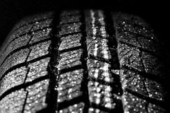 Winter car tire in rain Royalty Free Stock Image