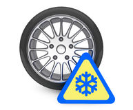 Winter Car Wheel Tire with snowflake sign Stock Photos