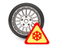 Winter Car Wheel Tire with snowflake sign Royalty Free Stock Photography