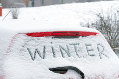 Winter on a car windshield. Stock Photo