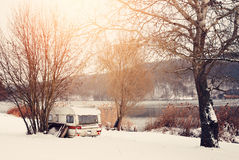 Winter caravan Stock Image
