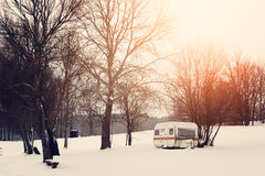 Winter caravan Stock Photo