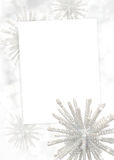 Winter card. Note with sparkling snowflakes and stars Royalty Free Stock Photography