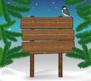 Winter card. Winter landscape with wooden sign. Vector christmas card Stock Photo