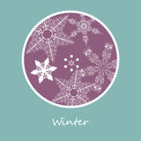 Winter card. Circular winter card with snowflakes Royalty Free Stock Images