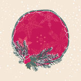 Winter card. Circular winter card with mistletoe and snowflakes Royalty Free Stock Images