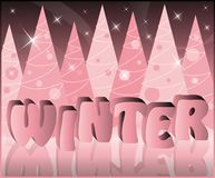Winter card in 3D image.  Royalty Free Stock Images