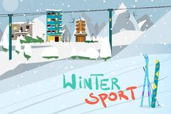 Winter card background. Mountains, snowboard and ski equipment i. N the snow a ski resort. Flat cartoon vector illustration Stock Image