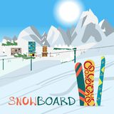 Winter card background. Mountains, snowboard and ski equipment i Stock Photos